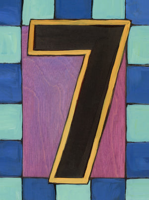 "Sincerely, Sticks ""7"" House Number Plaque option 2 with blue checked border"