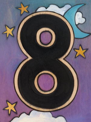 "Sincerely, Sticks ""8"" House Number Plaque option 1 with moon and stars"