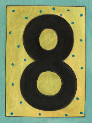 "Sincerely, Sticks ""8"" House Number Plaque option 2 with polka dots"