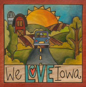 "99 Counties – ""We Love Iowa"" plaque with car and barn motif front view"