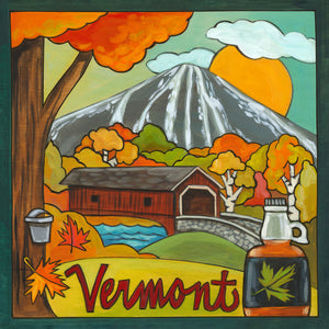 """I LoVermont"" Plaque – Lovely fall landscape scene of Vermont with maple trees and syrup, yum! front view"