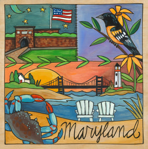 """Free State"" Plaque – Patchwork of local Maryland icons including the Bay Bridge along a scenic coastline front view"