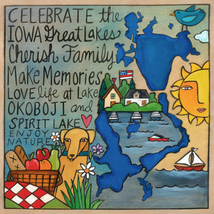 """Great Iowa Lakes"" Plaque – A great geographic plaque design with everything we love about Iowa's Great Lakes front view"