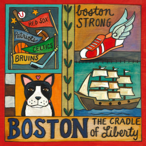 """Beantown, USA!"" Plaque – Bostonian icon crazy quilt design front view"
