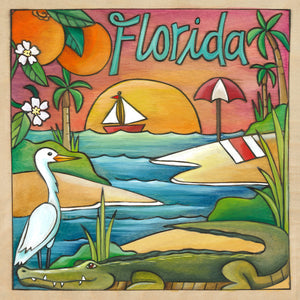 """Fun in the Sun"" Plaque – Tropical Florida landscape scene in a juicy color palette front view"