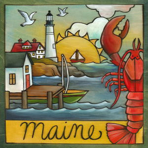 """Vacationland"" Plaque – Maine coastal landscape scene with a prominent lighthouse and lobster front view"