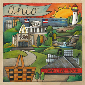 """Oh Ohio!"" Plaque – The Buckeye State landscape motif with several local landmarks front view"