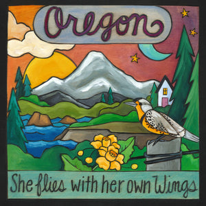 """Explore Oregon"" Plaque – ""She flies with her own wings"" beautiful Oregon landscape motif front view"