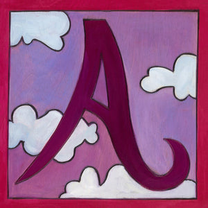 "Sincerely, Sticks ""A"" Alphabet Letter Plaque option 1 with clouds"