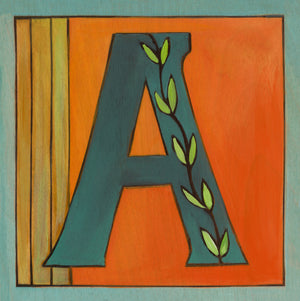 "Sincerely, Sticks ""A"" Alphabet Letter Plaque option 2 with vine"