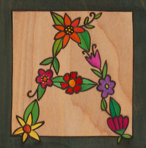 "Sincerely, Sticks ""A"" Alphabet Letter Plaque option 3 made of flowers"