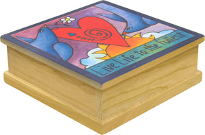 """A Bushel and a Peck"" Keepsake Box – Love birds soaring around a heart in the sky main view"