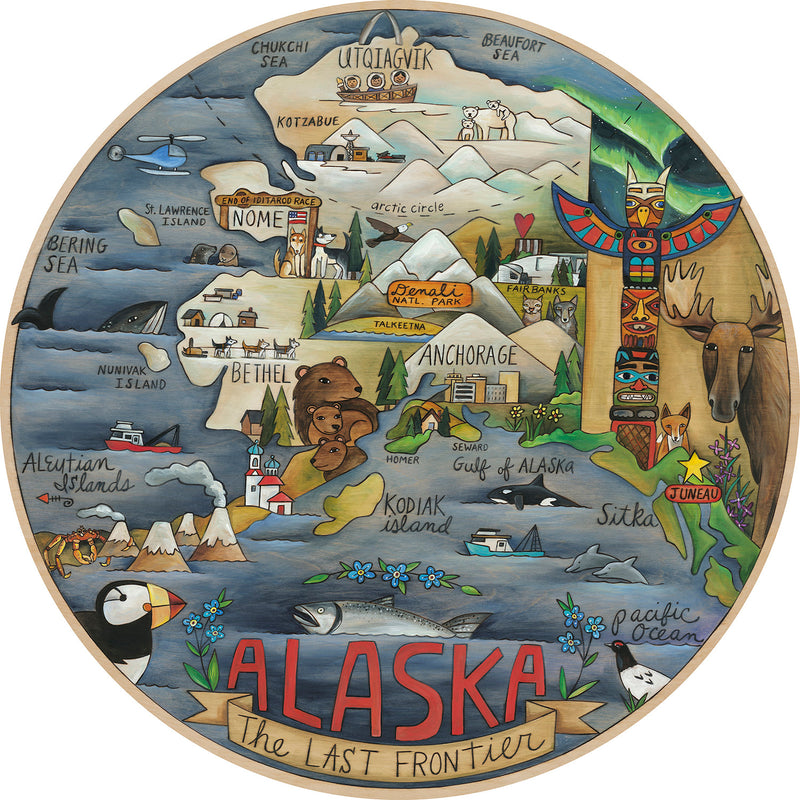 "Sincerely, Sticks printed ""The last frontier"" lazy susan with landscape motif of Alaska, front view"