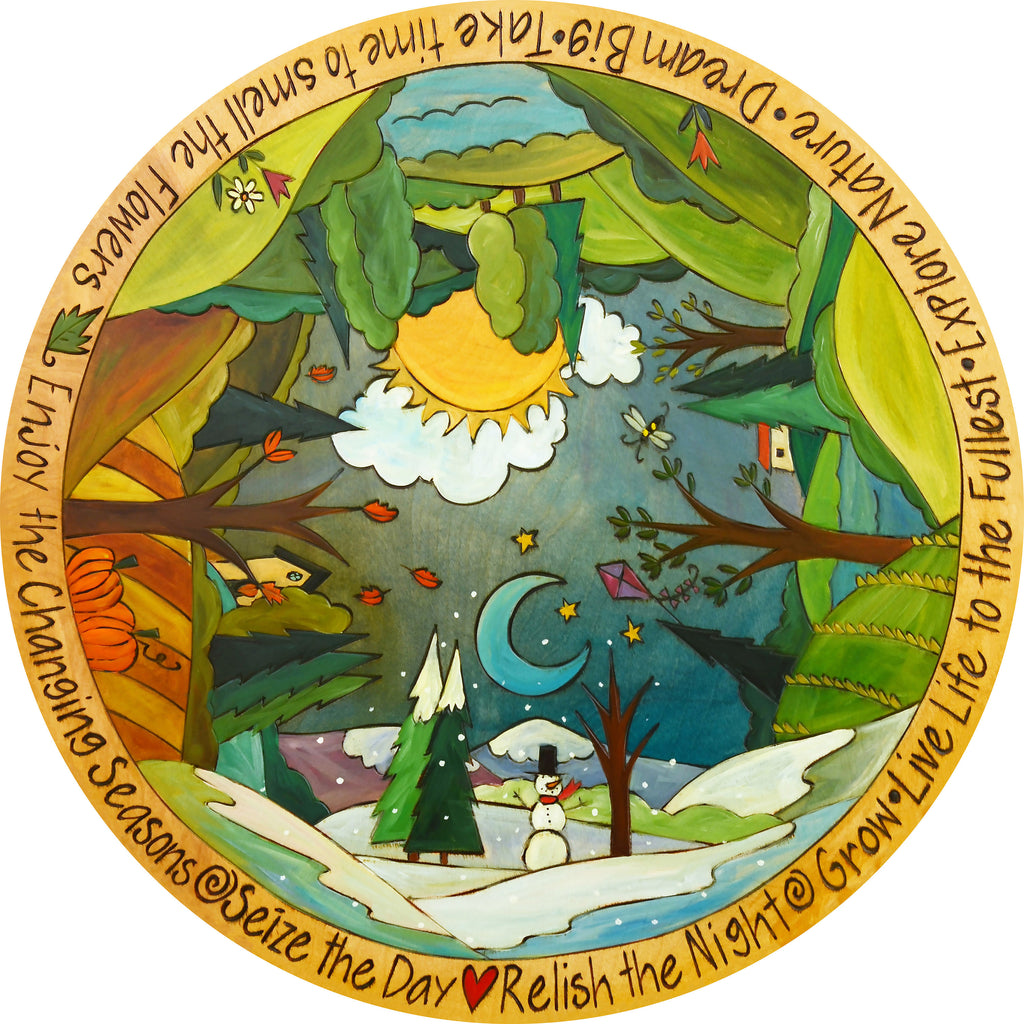 Sincerely, Sticks printed lazy susan, vibrant and colorful featuring a four seasons theme, front view