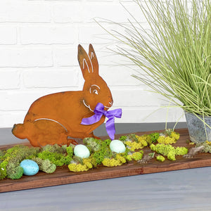 Audrey Rabbit Sculpture – Sweet bunny rabbit sculpture with a ribbon to celebrate spring season and Easter main view