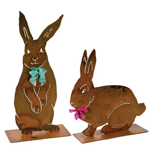 Henry Rabbit Sculpture – Dapper standing rabbit sculpture with a bowtie to celebrate spring season and Easter on a white background with another rabbit sculpture