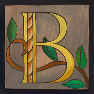 "Sincerely, Sticks ""B"" Alphabet Letter Plaque option 2 with tree branch"