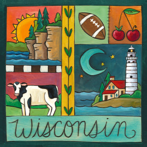 """Badger State"" Plaque – Midwestern crazy quilt motif all about Wisconsin front view"