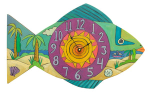 """Beach Time"" Fish Clock – A printed tropical fish clock in a brilliant Caribbean palette front view"