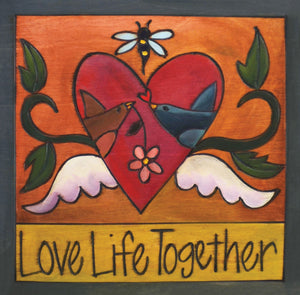 """Beak 2 Beak"" Plaque – Two love birds are in an iconic Sticks heart with wings front view"