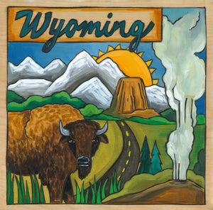 """Big Wyoming"" Plaque – Beautiful Wyoming landscape plaque honoring its national parks and treasures"