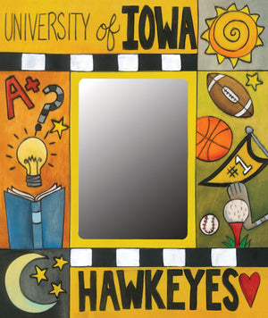 """Black and Gold Forever"" Picture Frame – University of Iowa frame with academics and sports motif front view"