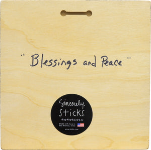 """Blessings and Peace"" Plaque – Celebrate plaque with star of David and menorah motif back view"