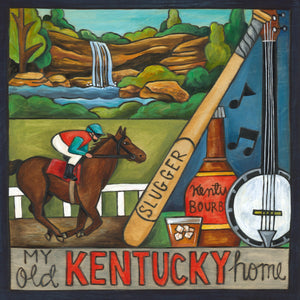 """Bluegrass State"" Plaque – This Kentucky plaque is off to the races with a Derby horse, Louisville Slugger bat, and bourbon bottle"