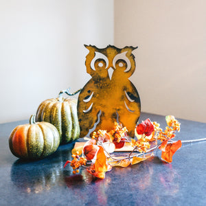Boo Owl Sculpture – Charming woodland owl adds a unique touch to your home's autumn display main view