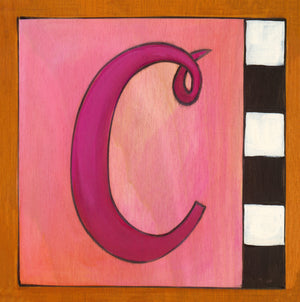 "Sincerely, Sticks ""C"" Alphabet Letter Plaque option 2 in pink with black and white check"