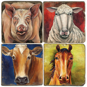 Pig, sheep, cow, and horse coaster set on vibrant backgrounds