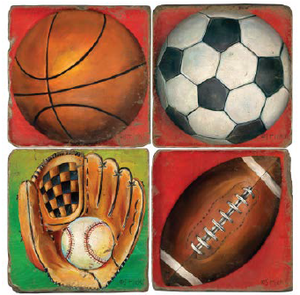 Sporting equipment on bright backgrounds coaster design set