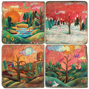 Warm-toned seasonal landscape design coasters with one season on each tile