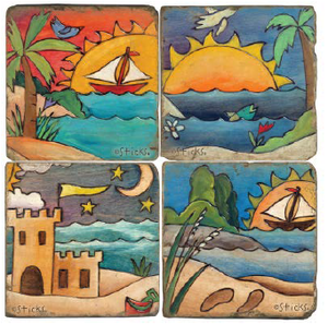 Tropical and Coastal beachy vibes coaster design set