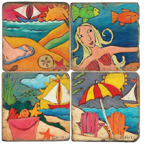 Tropical beach coaster designs featuring a mermaid, seashells, and seaside adirondack chairs