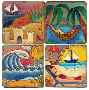 Relax on the beach coaster set designs