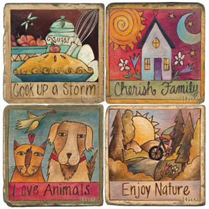 Sticks' best selling plaque quotes on a set of cute coasters