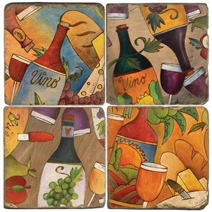 Various wine and food pairings coaster set design