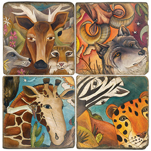 Exotic animals fill each tile in this coaster set