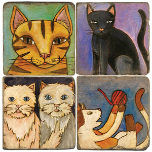 Cute cats design coaster set