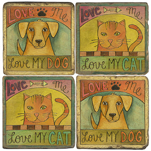 "Coordinating ""love me love my cat"" and ""love me love my dog"" coasters"
