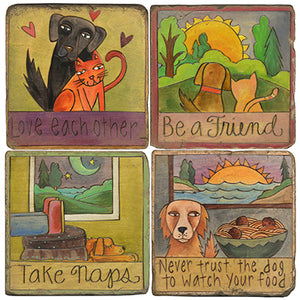 Cats and dogs play together in these coaster designs