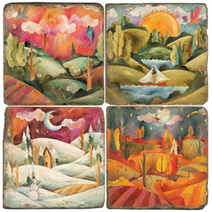 Beautiful vibrant four seasons landscape coaster set