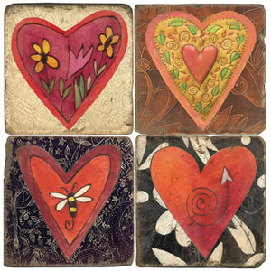 Sweet Sticks hearts coaster design set