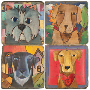 Four good dogs on four marble coasters