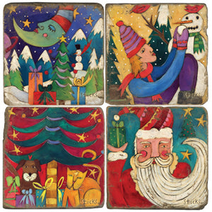 Festive and folky Christmas scenes coaster set