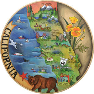 """California Dreamin'"" Lazy Susan – Beautiful artisan printed California lazy susan highlighting some of the most beloved areas in the state front view"