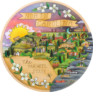 """Carolina in My Mind"" Lazy Susan – ""The Tar Heel State"" lazy susan with North Carolina motif lazy susan front view"