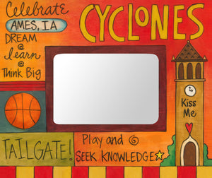 """Celebrate Cy"" Picture Frame – ""Cyclone"" frame with Campanile and basketball motif front view"