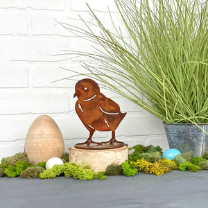 Daisy Chick Sculpture – Little rustic tabletop chick sculpture is perfect for a touch of spring to your home decor main iew